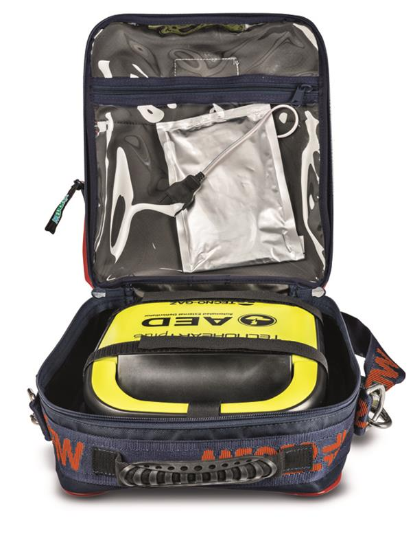 Open defibrillator holder